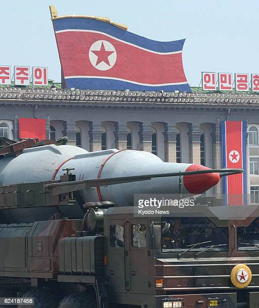North Korea - Photo shows the head of a KN08 ballistic missile in a military parade in Kim Il Sung Square, Pyongyang, on July 27 the 60th anniversary...