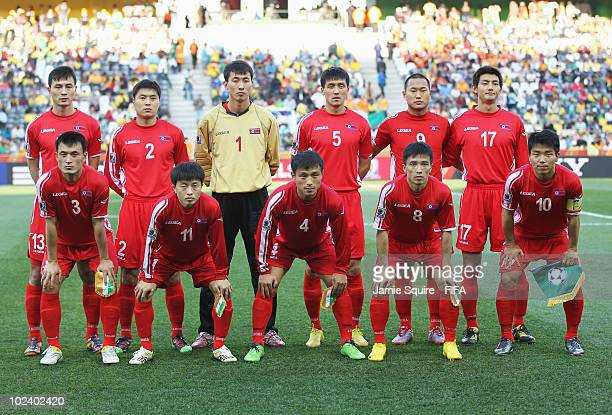 North Korea pose before the 2010 FIFA World Cup South Africa Group G match between North Korea and Ivory Coast at the Mbombela Stadium on June 25...