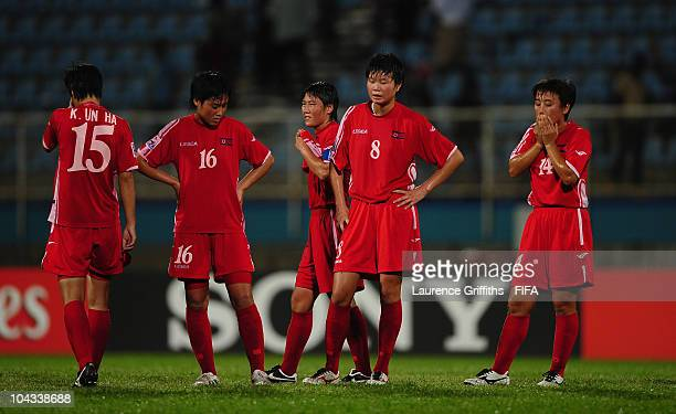 North Korea show their dissapointment after losing to Japan during the FIFA U17 Women's World Cup Semi Final match between North Korea and Japan at...