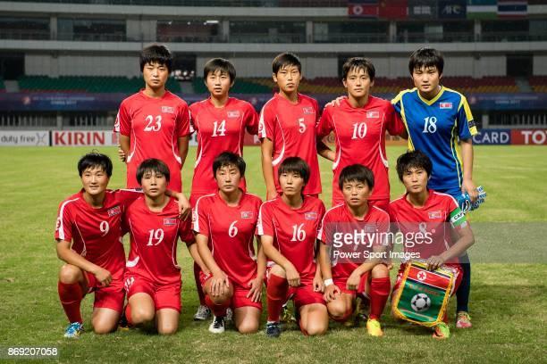North Korea squad pose for team photo Ju Hyo Sim #14 Rim Jin A #5 Son Ok Ju #10 Ri Hae Yon #18 Ri Jong Sim #9 Kim Pom Ui #19 Ri Pom Hyang #6 Ri Chun...