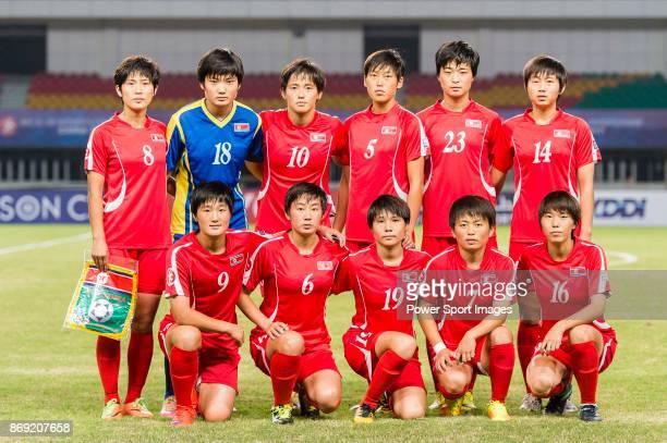 North Korea squad pose for team photo Ryang Ryong Mi #18 Ri Jong Sim #10 Ri Hae Yon #5 Son Ok Ju #23 Ju Hyo Sim #14 Rim Jin A #9 Kim Pom Ui #6 Ri...