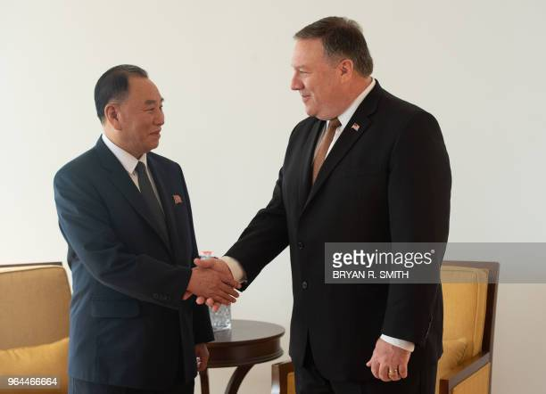 North Korea ViceChairman Kim Yong Chol shakes hands with United States Secretary of State Mike Pompeo on May 31 2018 in New York US Secretary of...
