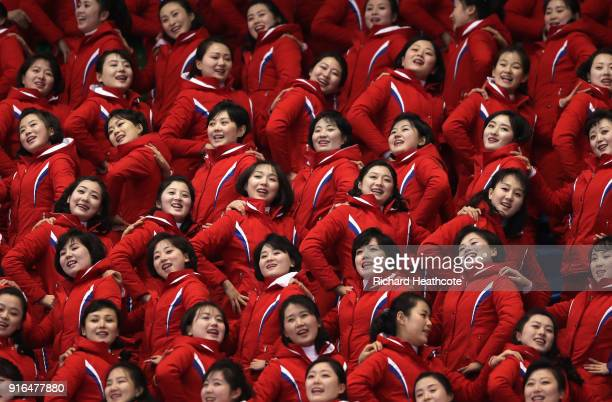 North Korean cheeleaders attend the Men's 1500m Short Track Speed Skating qualifying on day one of the PyeongChang 2018 Winter Olympic Games at...