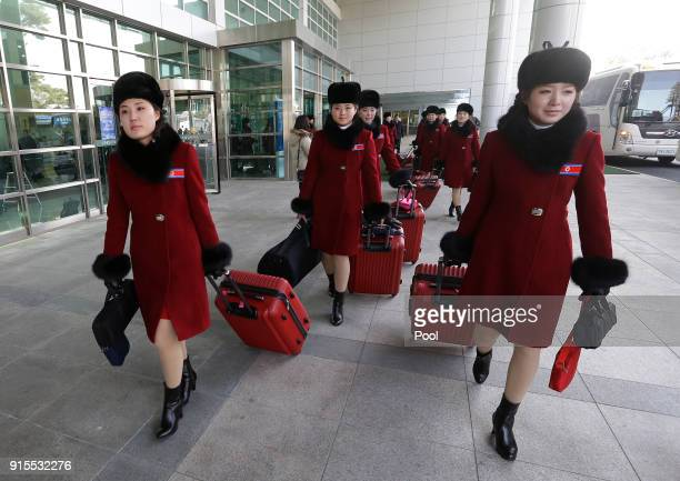 North Korean cheering squads arrive at the Koreantransit office near the Demilitarized Zone on February 7 2018 in Paju South Korea A North Korean...