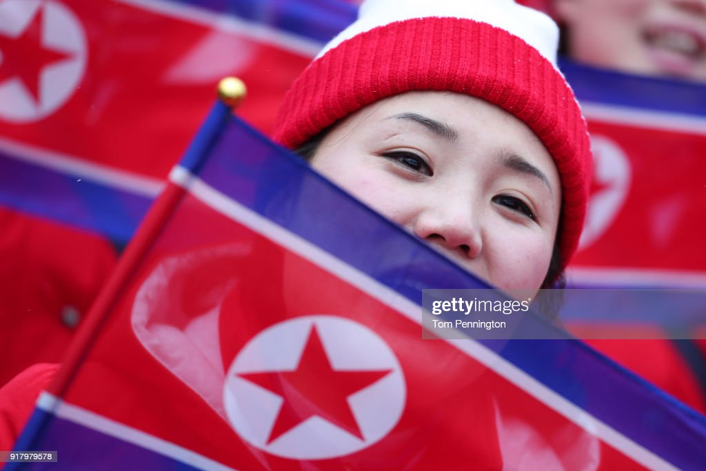 North Korean cheerleader sings prior to the Alpine Skiing Ladies' Slalom on day five of the PyeongChang 2018 Winter Olympics at Yongpyong Alpine Centre on February 14, 2018 in Pyeongchang-gun, South Korea.
