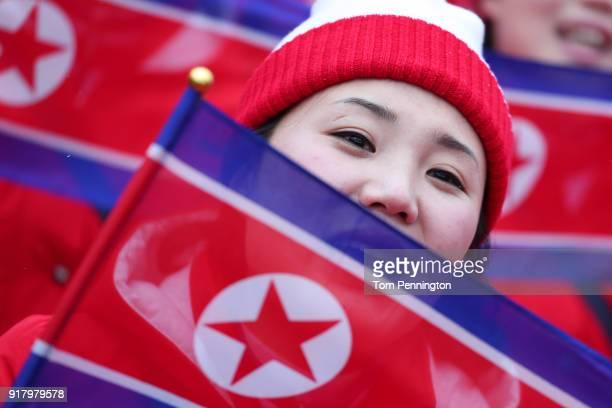 North Korean cheerleader sings prior to the Alpine Skiing Ladies' Slalom on day five of the PyeongChang 2018 Winter Olympics at Yongpyong Alpine...