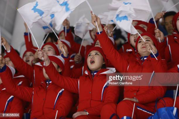 North Korean cheerleaders are seen during the Women's Ice Hockey Preliminary Round Group B game between Korea and Japan on day five of the...