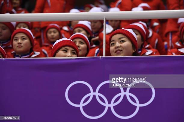 North Korean cheerleaders attend the pair skating free skating of the figure skating event during the Pyeongchang 2018 Winter Olympic Games at the...