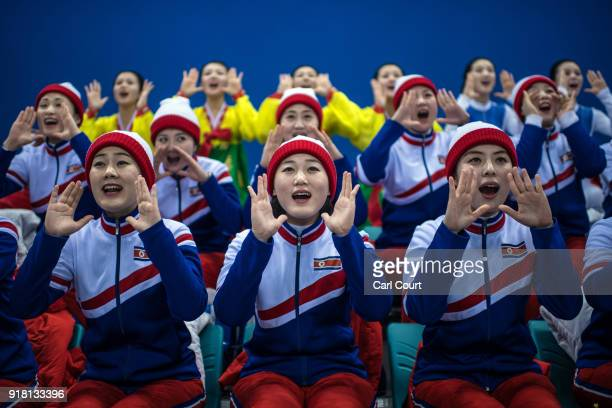 North Korean cheerleaders perform during the Women's Ice Hockey Preliminary Round Group B game between Korea and Japan on day five of the PyeongChang...
