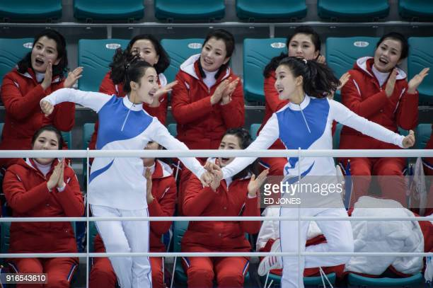 North Korean cheerleaders prior to the women's preliminary round ice hockey match between the unified Korea team and Switzerland at the Pyeongchang...