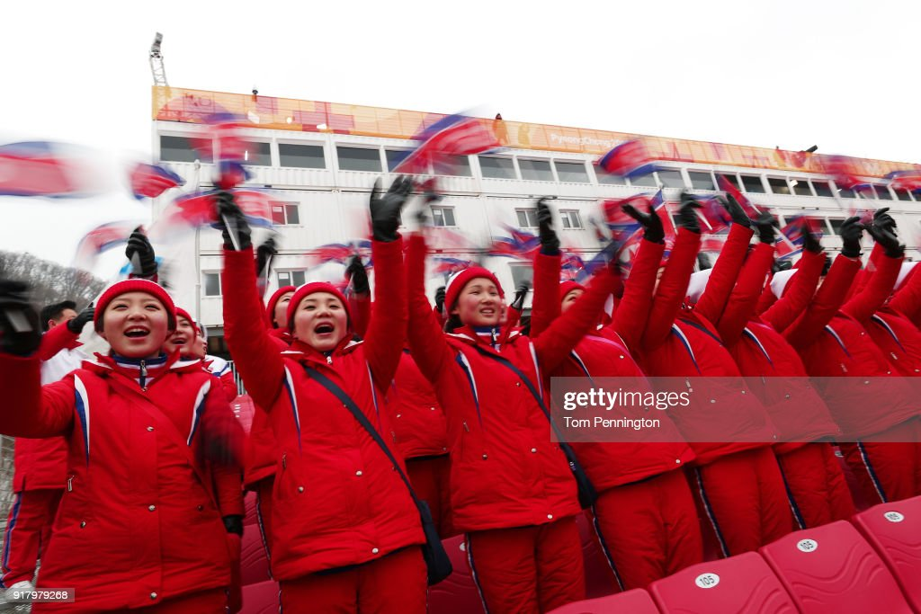 North Korean cheerleaders sing prior to the Alpine Skiing Ladies' Slalom on day five of the PyeongChang 2018 Winter Olympics at Yongpyong Alpine Centre on February 14, 2018 in Pyeongchang-gun, South Korea.
