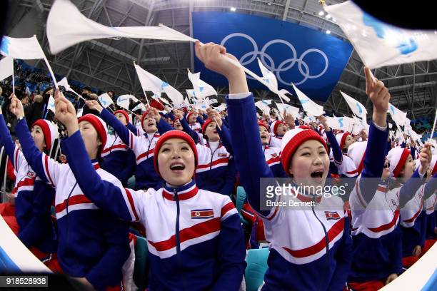 North Korean cheerleaders sing prior to the Men's Ice Hockey Preliminary Round Group A game between Czech Republic and Republic of Korea on day six...