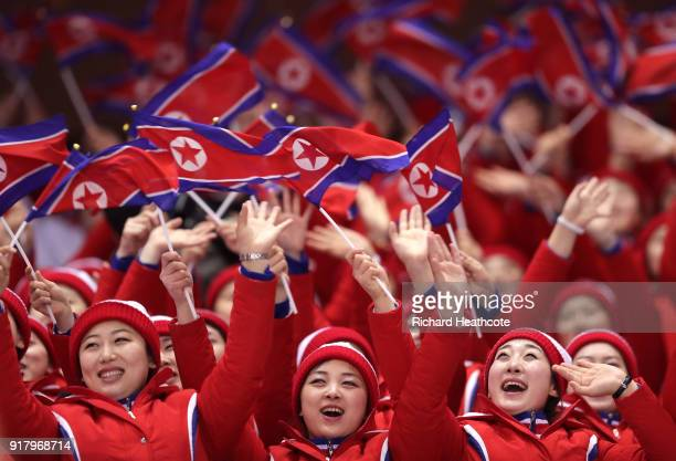 North Korean cheerleaders wave flags during the Pair Skating Short Program on day five of the PyeongChang 2018 Winter Olympics at Gangneung Ice Arena...