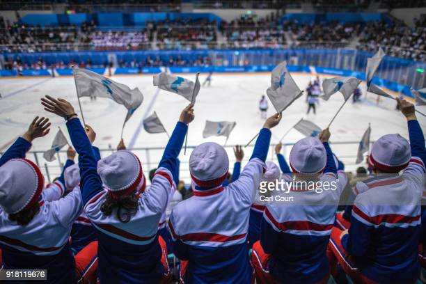 North Korean cheerleaders wave unified Korean flags as they cheer during the Women's Ice Hockey Preliminary Round Group B game between Korea and...