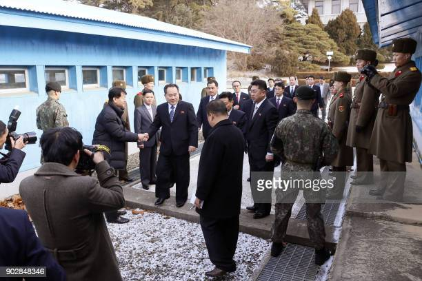 North Korean chief delegate Ri SonGwon and his delegation cross the border line to attend interKorea talks at the border truce village of Panmunjom...