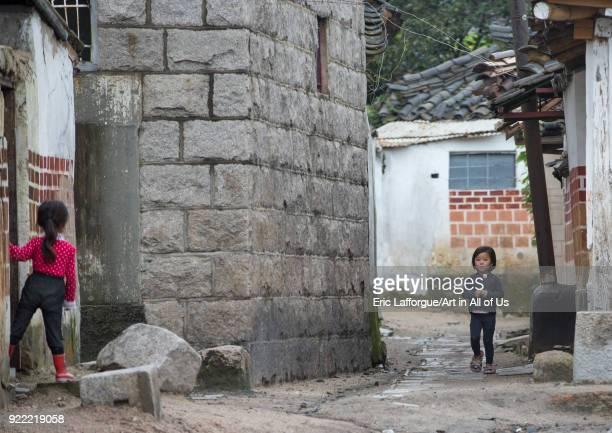 North Korean children in the old quarter North Hwanghae Province Kaesong North Korea on September 8 2012 in Kaesong North Korea