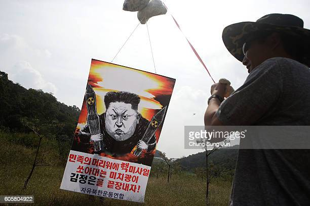 North Korean defector, now living in South Korea, prepares to release balloons carrying propaganda leaflets denouncing recent North Korea's nuclear...