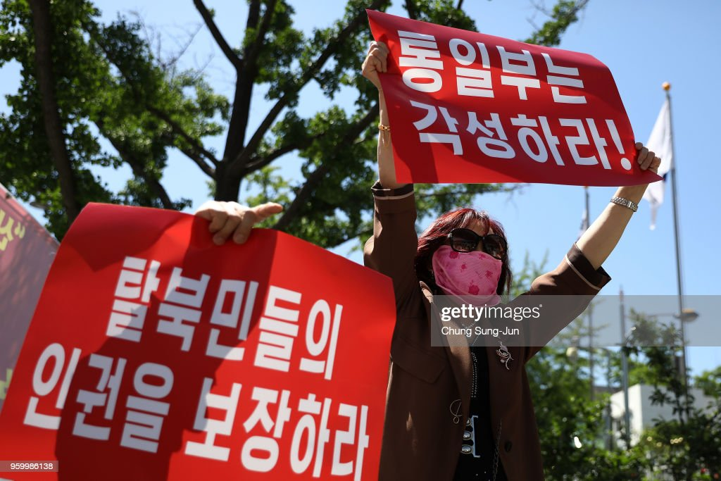North Korean Defectors In South Rally Against North Korea And Return of Recent Defectors