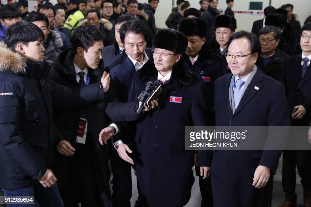 North Korean delegation of 32 people, including 10 athletes of the North Korean Olympic team, arrives at Yangyang international airport near...