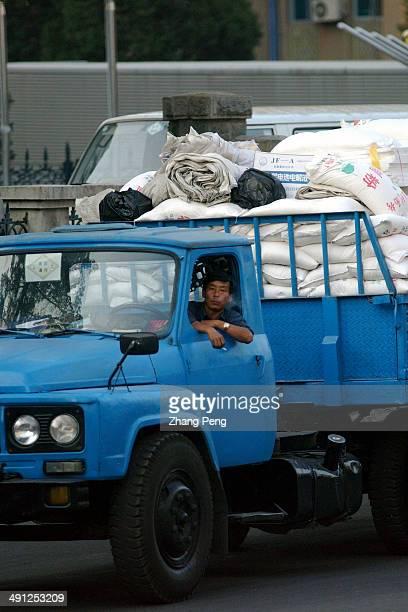 North Korean driver waiting to cross the border from China into North Korea
