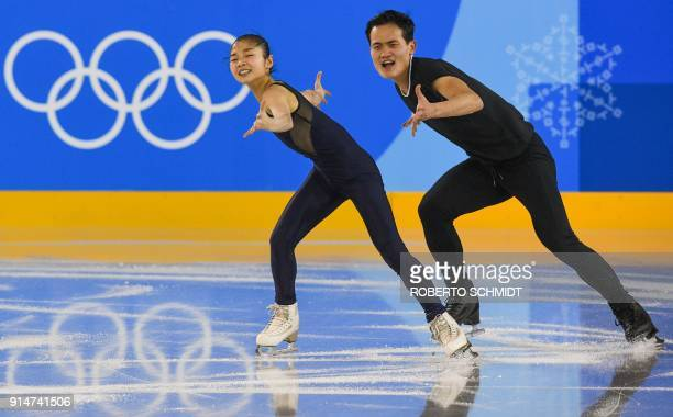 North Korean figure skaters Kim JuSik and Ryom TaeOk train during a practice session ahead of the Pyeongchang 2018 Winter Olympic Games at the...