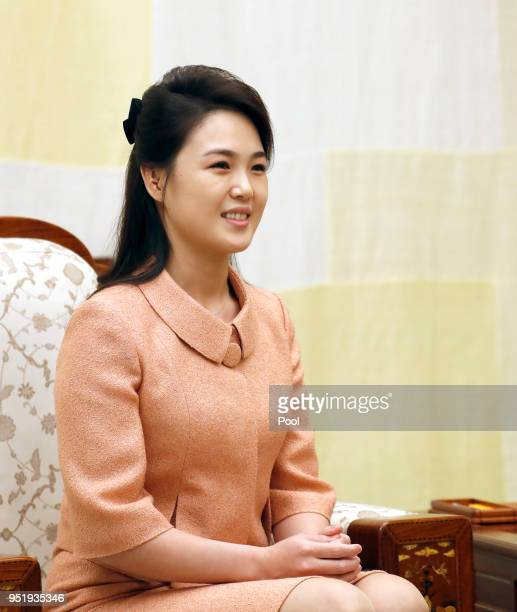 North Korean first lady Ri Solju upon arrival at the Peace House on April 27 2018 in Panmunjom South Korea Kim and Moon meet at the border today for...