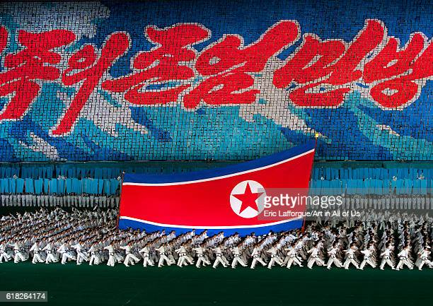 North korean flag during the arirang mass games at may day stadium pyongyang North Korea on September 6 2012 in Pyongyang North Korea