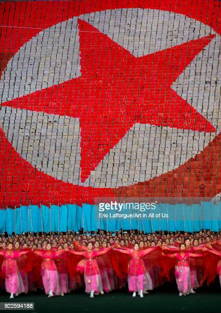 North Korean flag made by children pixels holding up colored boards during Arirang mass games in may day stadium Pyongan Province Pyongyang North...