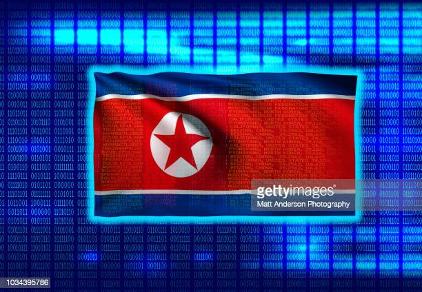 north korean flag on binary code 8k rez - electoral college stock pictures, royalty-free photos & images