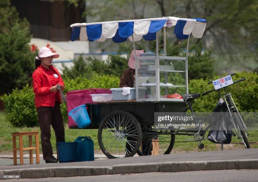 North Korean Food Street Seller Pyongan Province Pyongyang North Korea On May 10