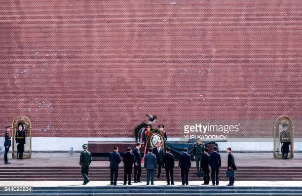 TOPSHOT North Korean Foreign Minister Ri YongHo attends a wreath laying ceremony at the Tomb of the Unknown Soldier near the Kremlin wall in Moscow...