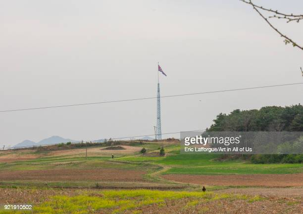 North Korean giant flag in the Demilitarized Zone, North Hwanghae Province, Panmunjom, North Korea on April 21, 2008 in Panmunjom, North Korea.