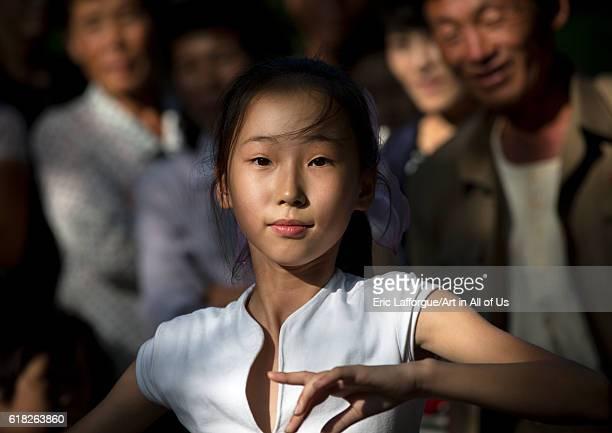 North korean girl dancing on national day pyongyang North Korea on September 9 2012 in Pyongyang North Korea