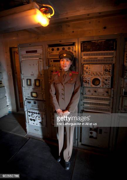 North Korean guide in the Uss Pueblo american spy ship machine room'n Pyongan Province Pyongyang North Korea on September 10 2011 in Pyongyang North...