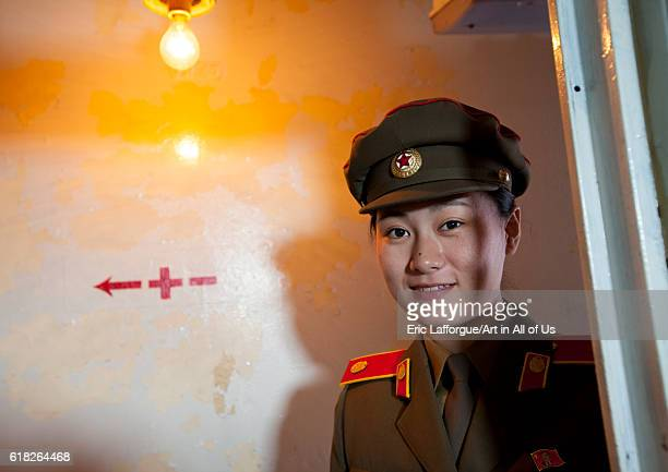 North korean guide inside uss pueblo spy boat pyongyang North Korea on September 9 2012 in Pyongyang North Korea