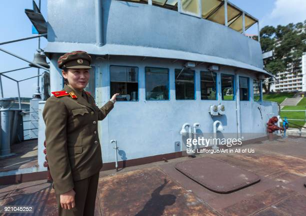 North Korean guide on Uss Pueblo american spy boat Pyongan Province Pyongyang North Korea on September 9 2012 in Pyongyang North Korea