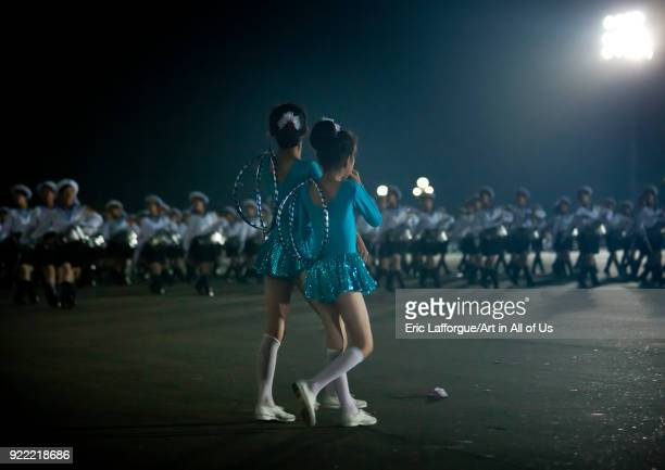 North Korean gymnasts going to the Arirang mass games outside of may day stadiumn Pyongan Province Pyongyang North Korea on September 11 2008 in...