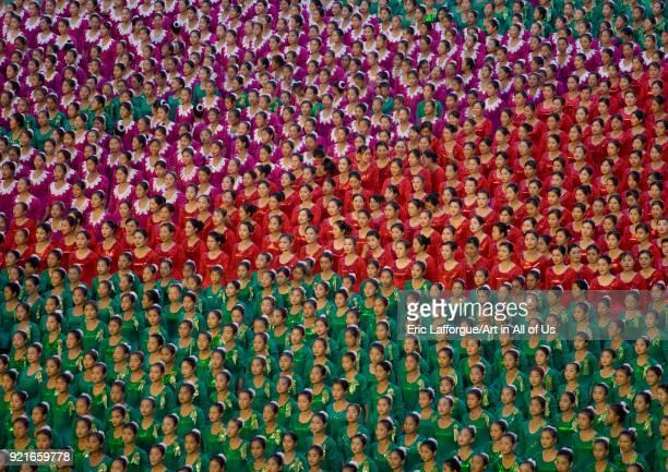 North Korean gymnasts performing during Arirang mass games in may day stadium Pyongan Province Pyongyang North Korea on September 12 2008 in...