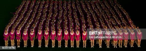 North Korean gymnasts performing during Arirang mass games in may day stadium Pyongan Province Pyongyang North Korea on September 11 2008 in...