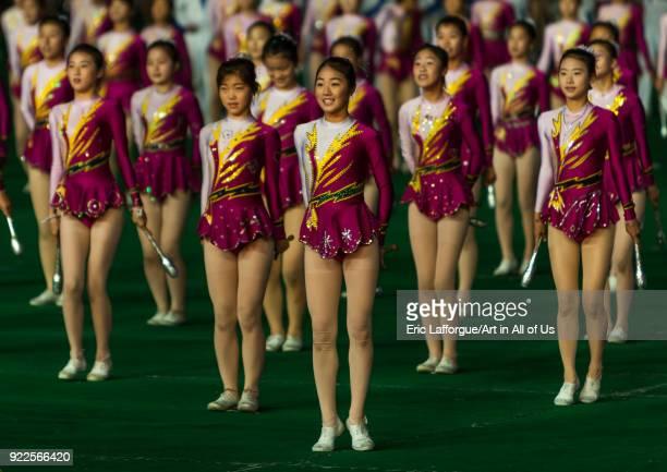 North Korean gymnasts performing during the Arirang mass games in may day stadium Pyongan Province Pyongyang North Korea on September 19 2011 in...