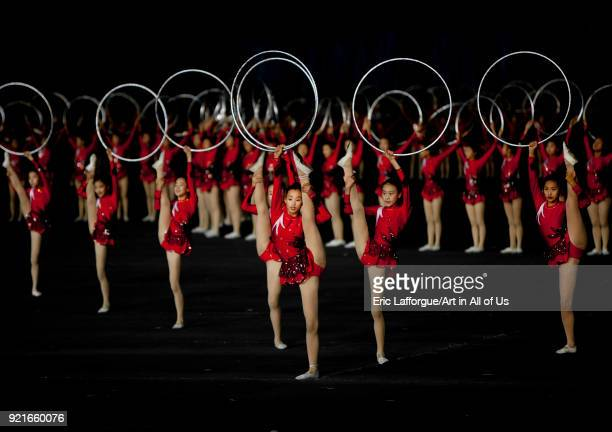 North Korean gymnasts performing with hoops at Arirang mass games in may day stadium Pyongan Province Pyongyang North Korea on September 19 2011 in...