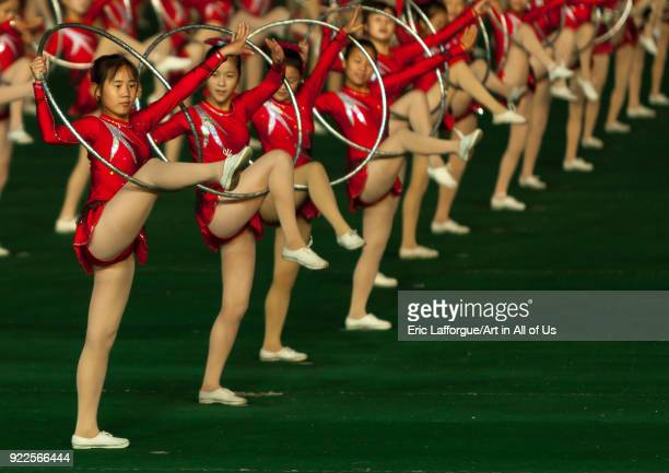 North Korean gymnasts performing with hoops at Arirang mass games in may day stadium Pyongan Province Pyongyang North Korea on September 19 2011 in...