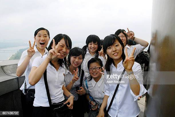 North Korean high school students living in Osaka Japan visit the Juche Tower built to commemorate the 70th birthday of Preident Kim Il Sung Juche...