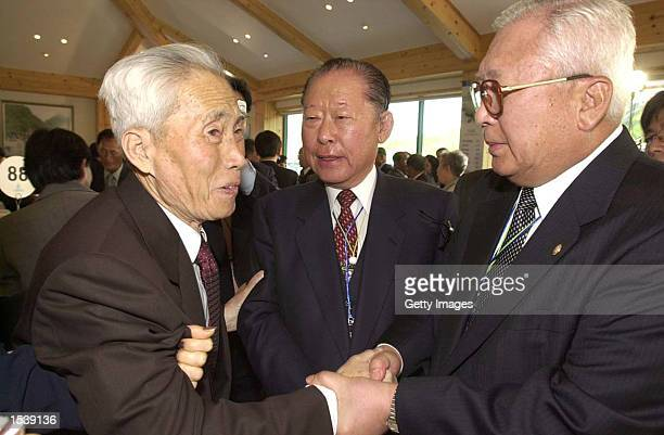 North Korean Kim Sungha shakes the hand with his brother Kim Minha of South Korea during a reunion of families from the two countries May 1 2002 at...