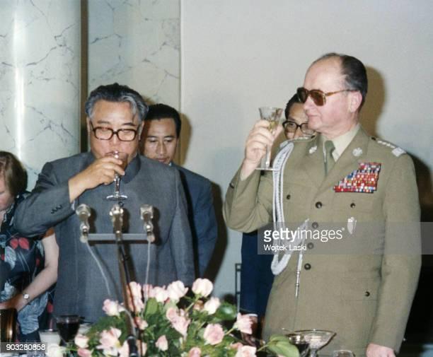 North Korean leader Kim Il-sung with Polish prime minister Wojciech Jaruzelski in Warsaw, Poland, May 1984.