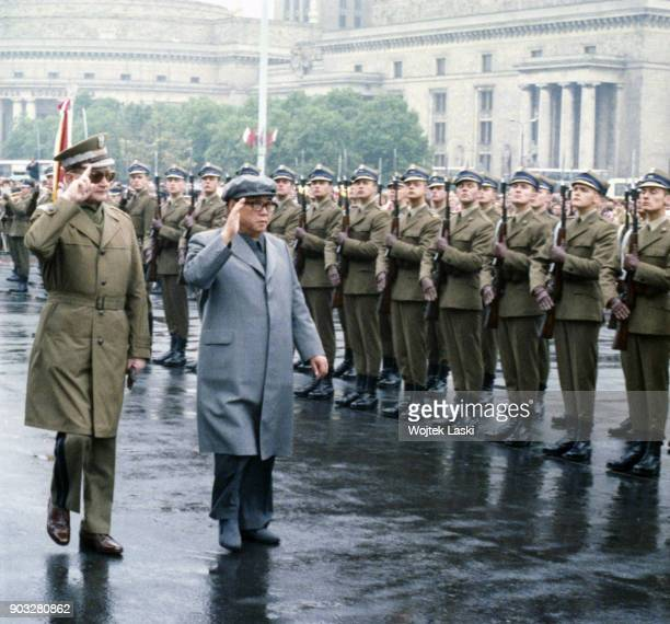 North Korean leader Kim Il-sung with Polish prime minister Wojciech Jaruzelski in Warsaw, Poland, May 1984.