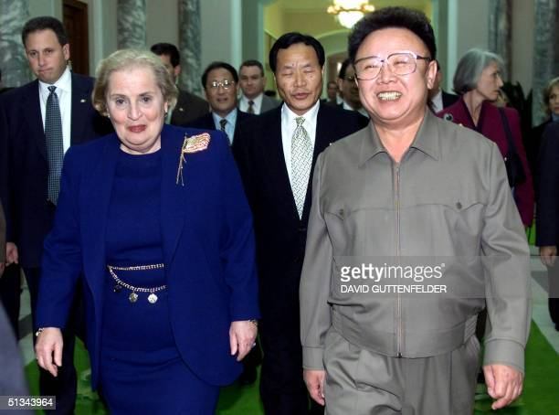 North Korean Leader Kim Jong Il and US Secretary of State Madeleine Albright walk towards a conference room at the Pae Kha Hawon Guest House in...