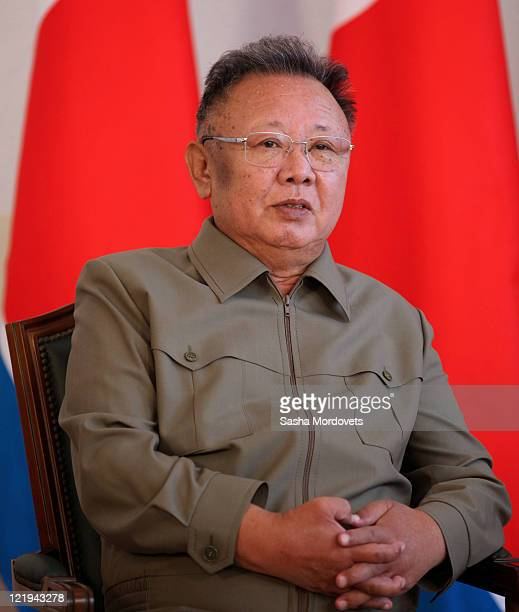 North Korean leader Kim Jong Il looks on during a meeting with Russian President Dmitry Medvedev ahead of talks on August 24, 2011 in the Eastern...