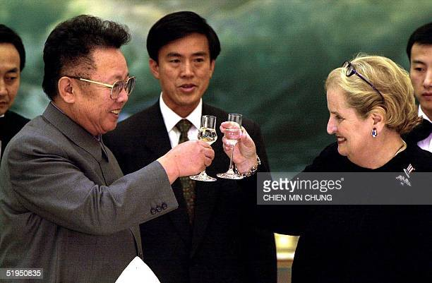 North Korean leader Kim Jong Il toasts US Secretary of State Madeleine Albright at a dinner in Pyongyang on 24 October 2000 The Albright visit is...