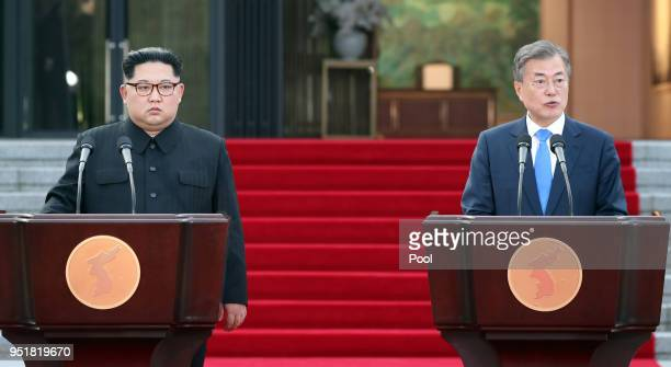 North Korean leader Kim Jong Un and South Korean President Moon Jaein announce the Panmunjom Declaration for Peace Prosperity and Unification of the...